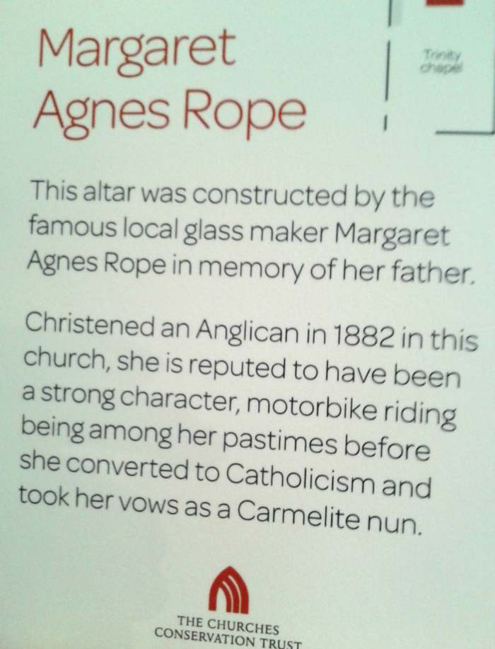 Margaret Rope notice in St Mary's