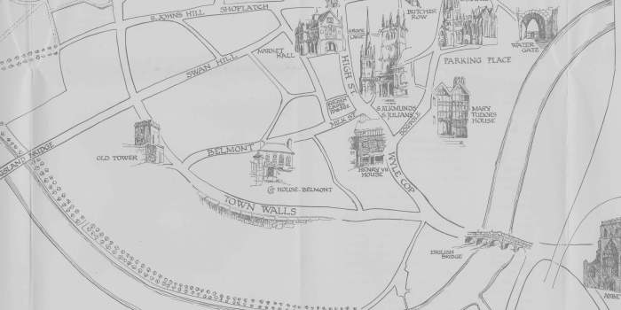 'What to See in Shrewsbury' map detail, 1950s
