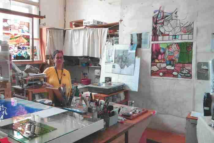 Nathalie Hildegarde Liege in her studio
